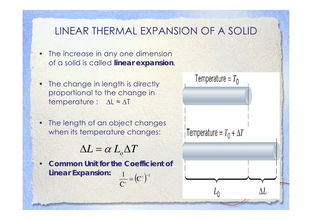 LINEAR THERMAL EXPANSION OF A SOLID  • The increase in any one dimension   of a solid iis called li    f     lid       ll ...