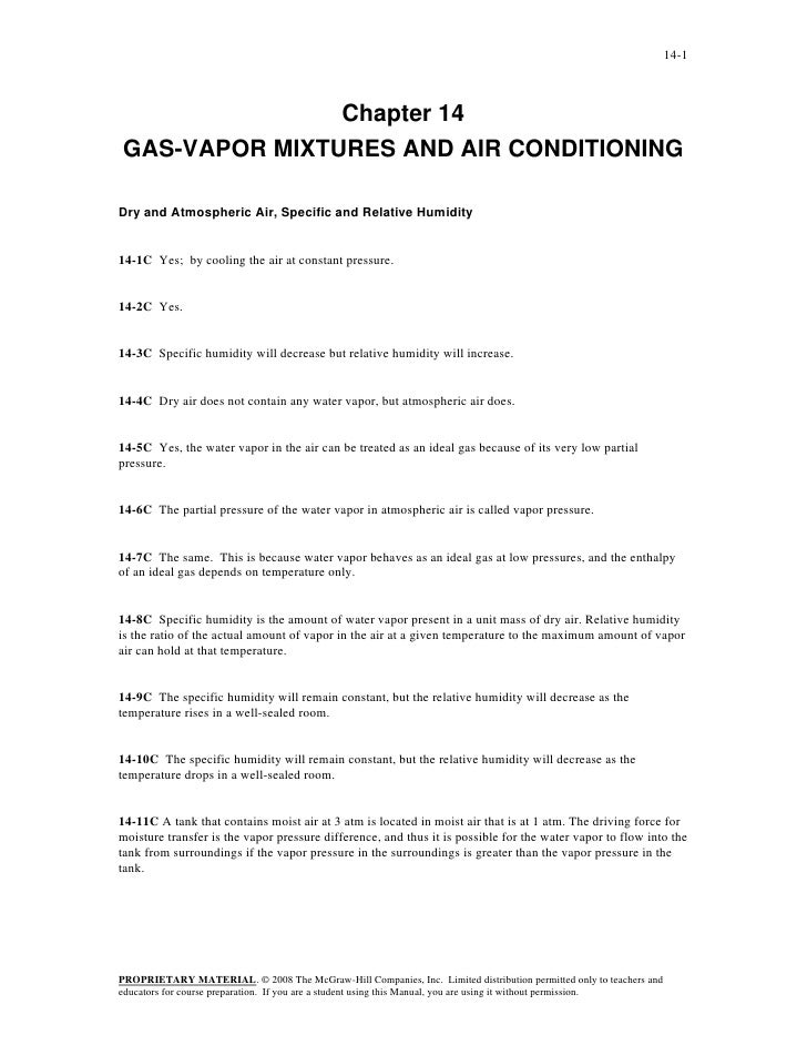 14-1               Chapter 14GAS-VAPOR MIXTURES AND AIR CONDITIONINGDry and Atmospheric Air, Specific and Relative Humidit...