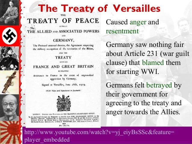 the fairness of the treaty of versailles towards germany after the world war i The treaty of versailles was one of the peace treaties at the endof world war i it ended the war between germany and the alliedpowers it was signed on june 28, 1919, exactly five years afterthe assassination of archduke franz ferdinand, one of the eventsthat triggered the start of the war although the armistice signedon november.