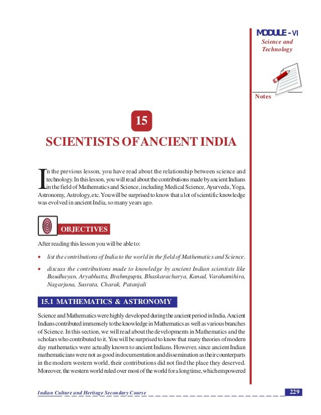 Scientists ofAncient India Notes 229Indian Culture and Heritage Secondary Course MODULE - VI Science and Technology 15 SCI...