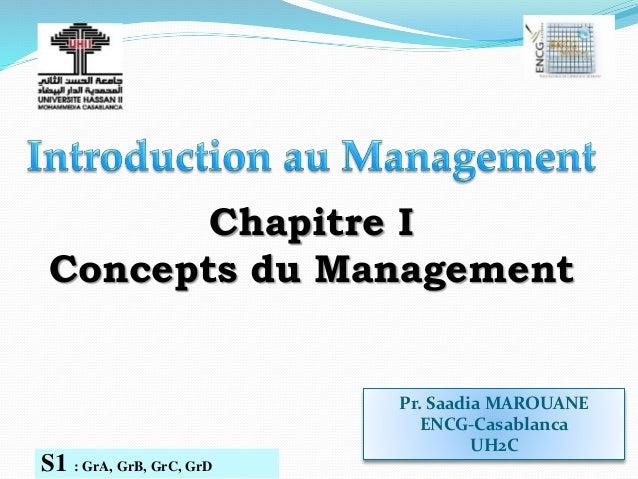 Pr. Saadia MAROUANE ENCG-Casablanca UH2C S1 : GrA, GrB, GrC, GrD Chapitre I Concepts du Management