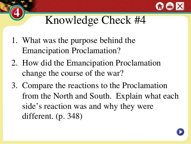 essay questions about the emancipation proclamation Answer 5 essay questions on civil war 7 pages (1750 words)  emancipation proclamation, issued by president abraham lincoln after the end of civil war,.