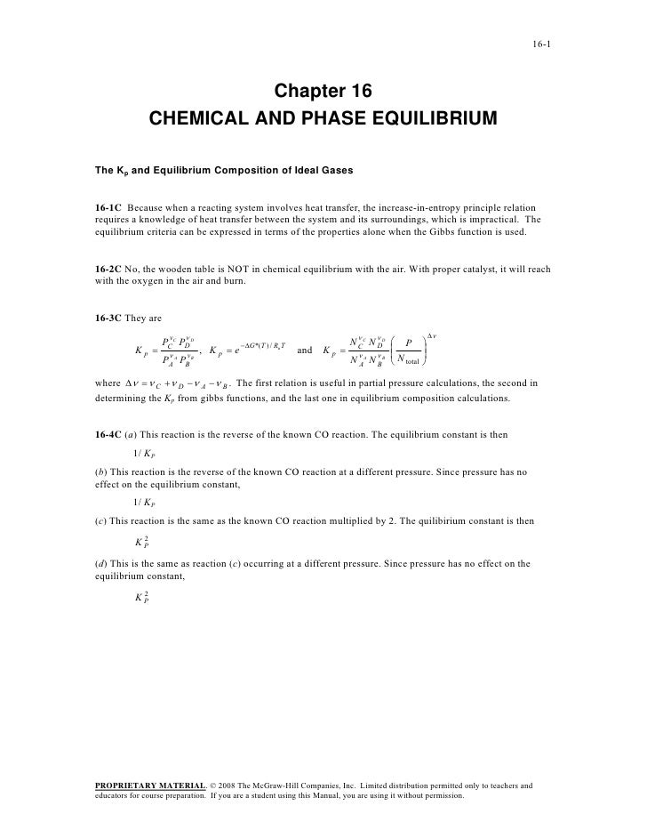 16-1                         Chapter 16               CHEMICAL AND PHASE EQUILIBRIUMThe Kp and Equilibrium Composition of ...