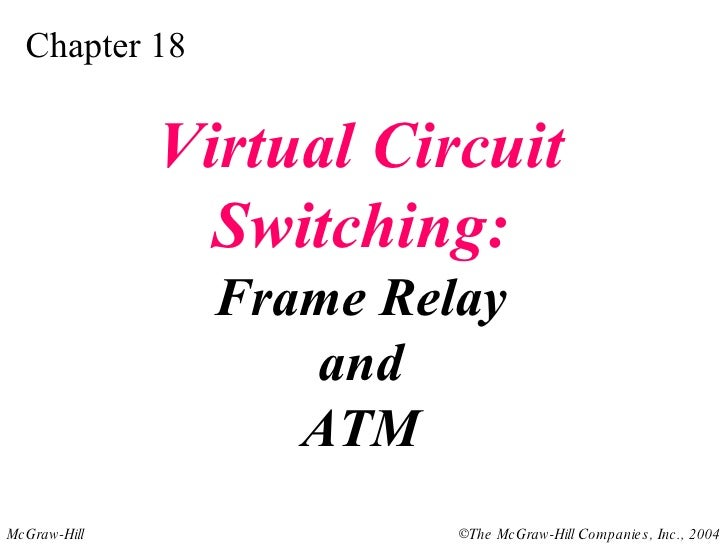 Chapter 18 Virtual Circuit Switching: Frame Relay and ATM