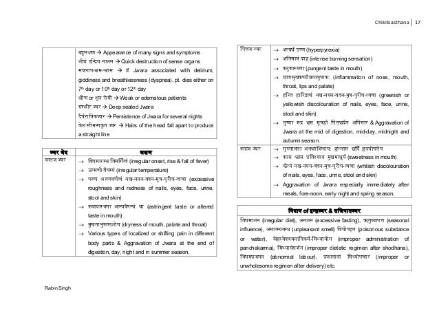 Chikitsasthana 17 Rabin Singh लक्ष  Appearance of many signs and symptoms घ्र चरि ना न  Quick destruction of sense organ...