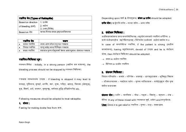 Chikitsasthana 26 Rabin Singh क्तच त्त (Types of Raktapitta) Based on direction of bleeding ( ा ज) 1. ध् ज 2. ि 3. (च ज ) ...