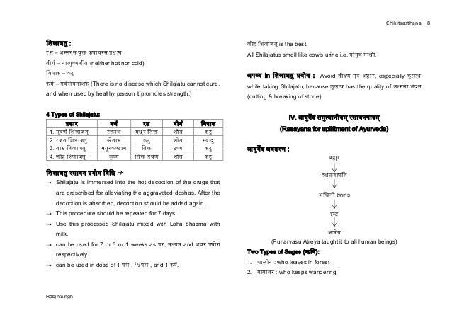 Chikitsasthana 8 Rabin Singh च ला : – म्प्ल क्त ा प्रिान ज – नात् ष् (neither hot nor cold) च ा – ज – ज ना (There is no di...