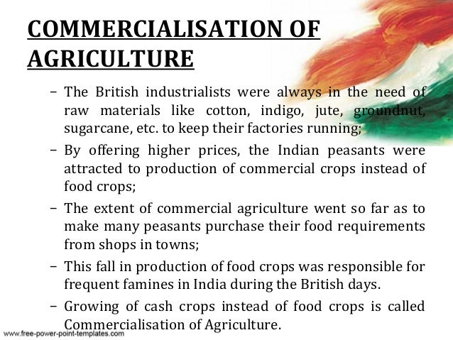 commercialisation of agriculture india
