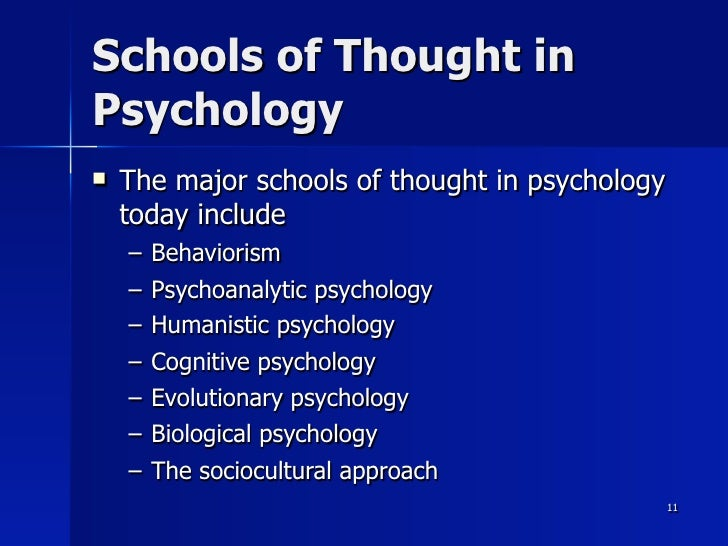 schools of thought psychology Structuralism was the first school of thought in psychology, but it was quite short-lived learn the basics of structuralism, why it died out, and the impact it had on psychology.