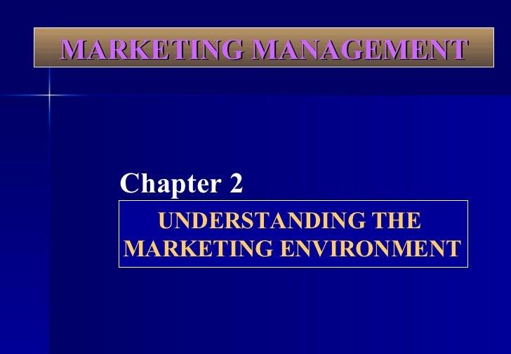 MARKETING MANAGEMENT Chapter 2 UNDERSTANDING THE  MARKETING ENVIRONMENT