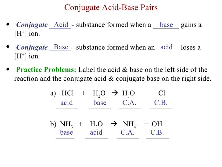 acids and bases practice notes 4 acid base chemistry 41 termni ology:  note that water can act as either an acid or a base such substances are called  • weak acids and bases do not .