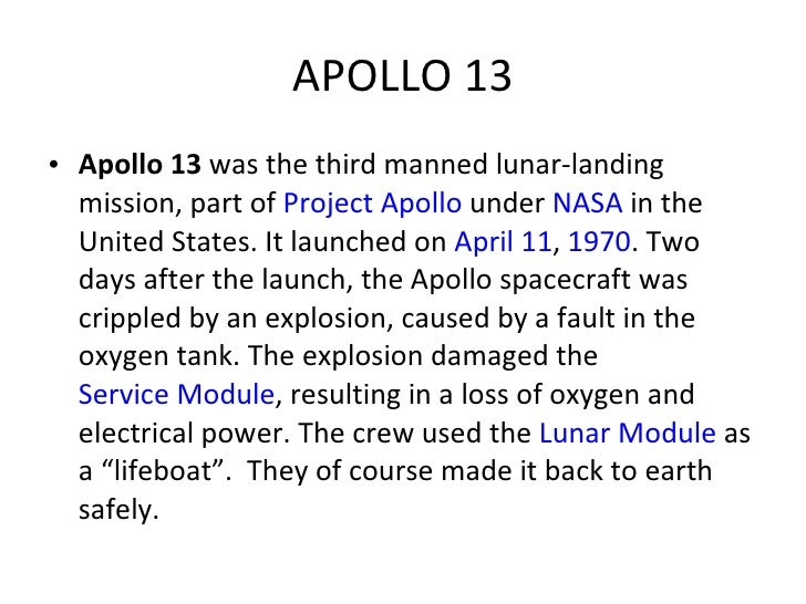 Ch 21 Exploring Space 2010 – Apollo 13 Worksheet