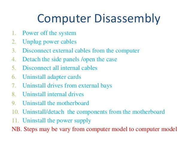 computer assembly and disassembly Do-it-yourself pc system: cpu & motherboard by frank völkel january 15, 2001 at 10:04 am page 3: tom's hardware pc: assembly and costs page 4: ideal cpu.