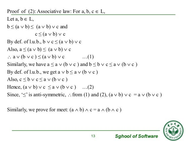 Sghool of Software  Proof of (2): Associative law: For a, b, c Î L,  Let a, b Î L,  b ≤ (a Ú b) ≤ (a Ú b) Ú c and  c ≤ (a ...