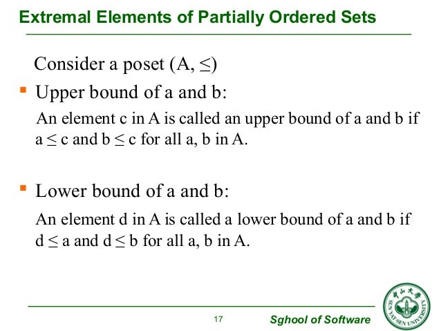 Extremal Elements of Partially Ordered Sets  Consider a poset (A, ≤)   Upper bound of a and b:  An element c in A is call...