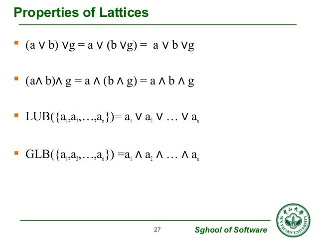 Sghool of Software  Properties of Lattices   (a ∨ b) ∨g = a ∨ (b ∨g) = a ∨ b ∨g   (a∧ b)∧ g = a ∧ (b ∧ g) = a ∧ b ∧ g  ...