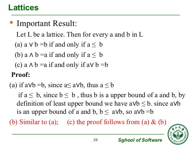  Important Result:  Let L be a lattice. Then for every a and b in L  (a) a ∨ b =b if and only if a ≤ b  (b) a ∧ b =a if a...