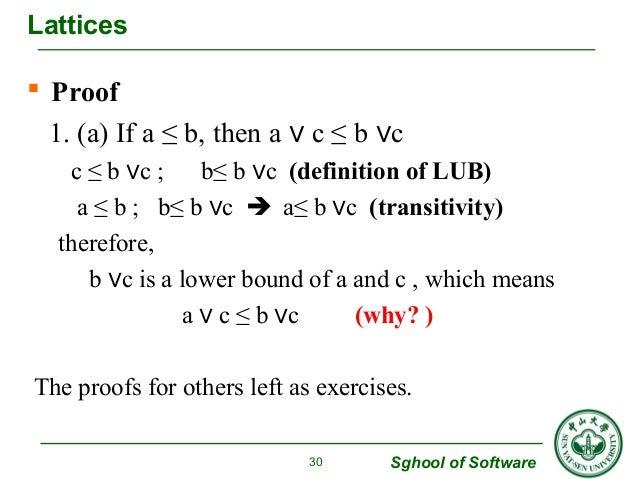  Proof  1. (a) If a ≤ b, then a ∨ c ≤ b ∨c  c ≤ b ∨c ; b≤ b ∨c (definition of LUB)  a ≤ b ; b≤ b ∨c  a≤ b ∨c (transitivi...