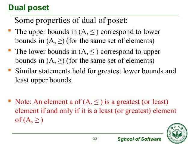 Some properties of dual of poset:   The upper bounds in (A, ≤ ) correspond to lower  bounds in (A, ≥) (for the same set o...