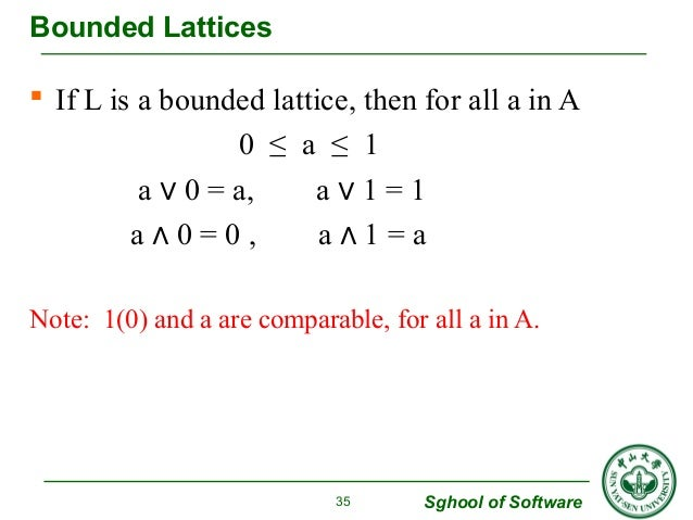Bounded Lattices   If L is a bounded lattice, then for all a in A  Sghool of Software  0 ≤ a ≤ 1  a ∨ 0 = a, a ∨ 1 = 1  a...