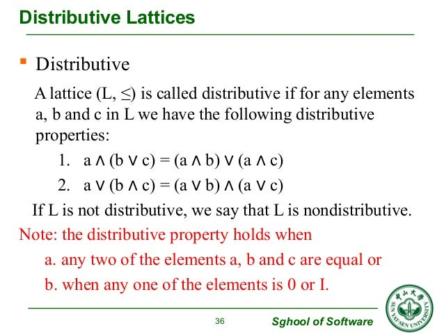  Distributive  A lattice (L, ≤) is called distributive if for any elements  a, b and c in L we have the following distrib...