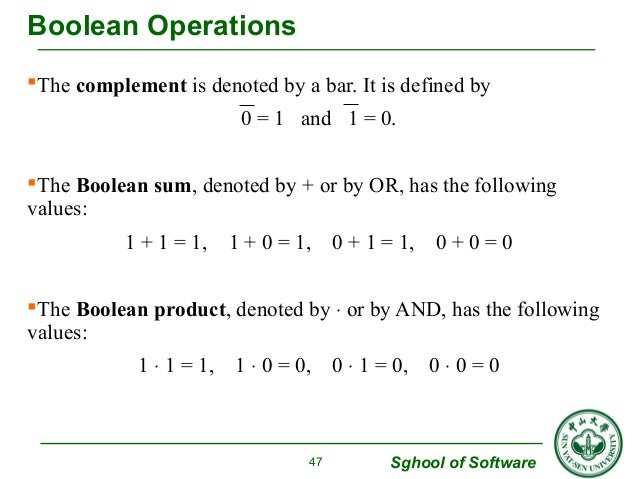 The complement is denoted by a bar. It is defined by  0 = 1 and 1 = 0.  The Boolean sum, denoted by + or by OR, has the ...