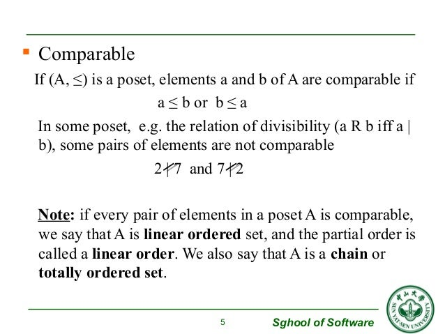  Comparable  If (A, ≤) is a poset, elements a and b of A are comparable if  Sghool of Software  a ≤ b or b ≤ a  In some p...