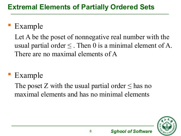 Extremal Elements of Partially Ordered Sets   Example  Let A be the poset of nonnegative real number with the  usual part...