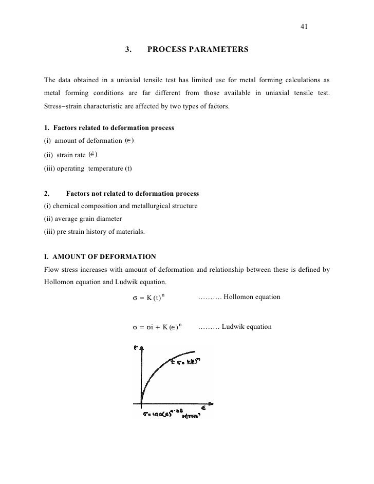 41                              3.         PROCESS PARAMETERSThe data obtained in a uniaxial tensile test has limited use ...