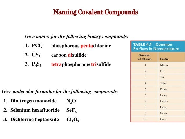 ... covalent compounds give names for the following binary compounds