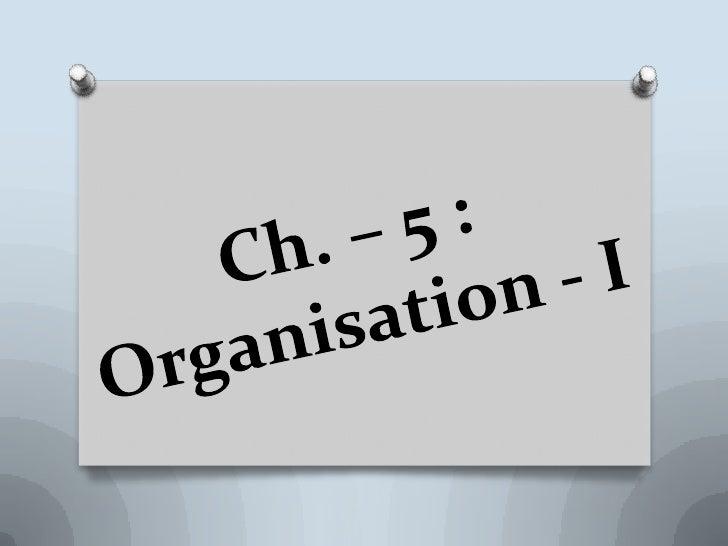 Ch. – 5 : Organisation - I<br />