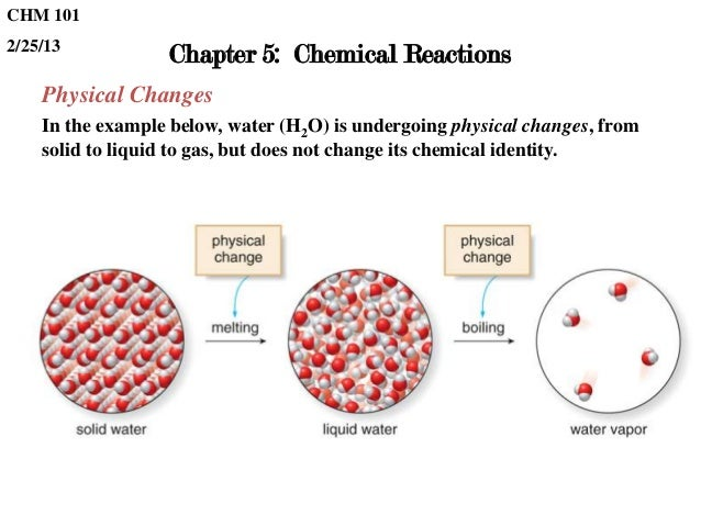 CHM 1012/25/13                  Chapter 5: Chemical Reactions    Physical Changes    In the example below, water (H2O) is ...