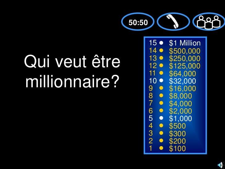 50:50<br />15<br />$1 Million<br />14<br />$500,000<br />Qui veut être millionnaire?<br />13<br />$250,000<br />12<br />$1...