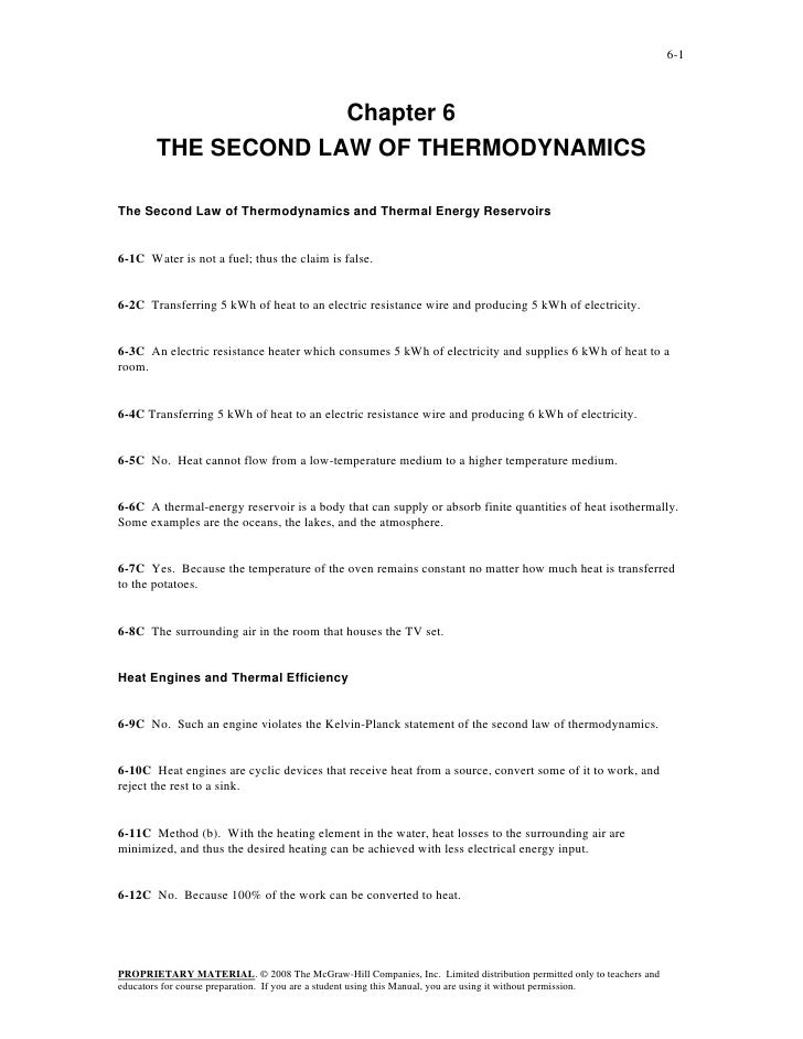 6-1                     Chapter 6        THE SECOND LAW OF THERMODYNAMICSThe Second Law of Thermodynamics and Thermal Ener...