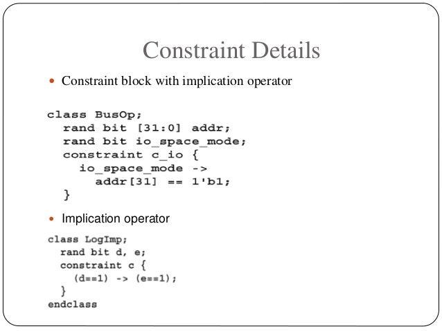 Constraint Details  Constraint block with implication operator  Implication operator