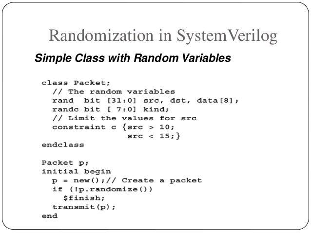 Randomization in SystemVerilog Simple Class with Random Variables