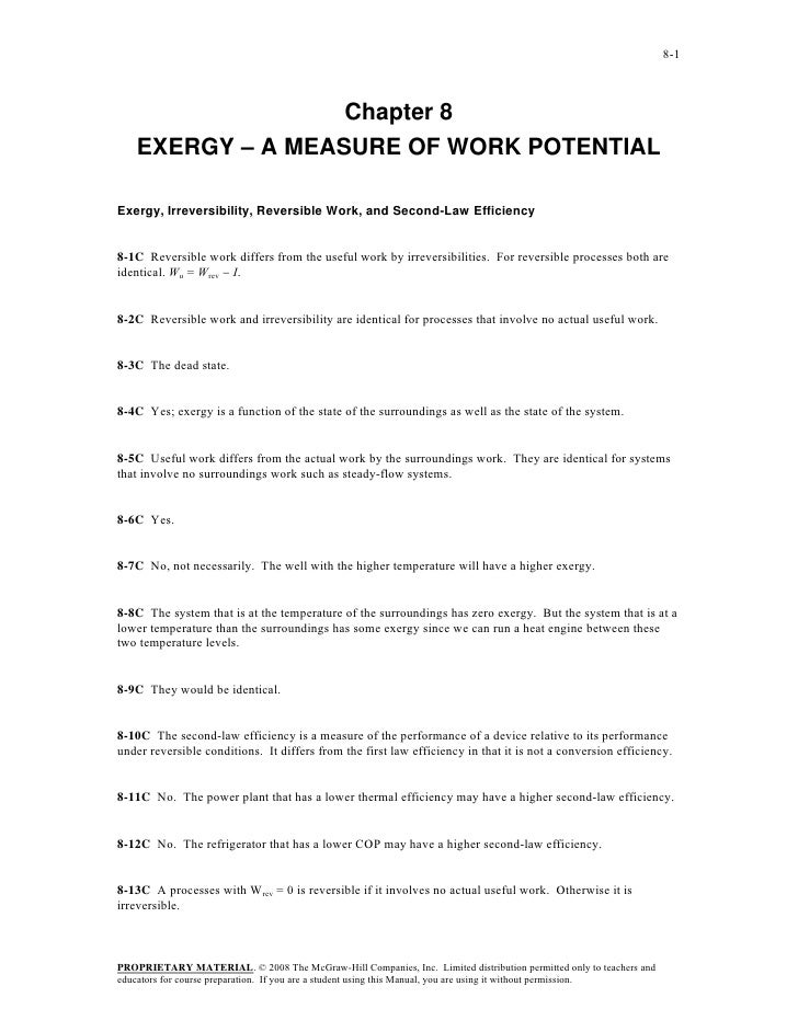 8-1                   Chapter 8    EXERGY – A MEASURE OF WORK POTENTIALExergy, Irreversibility, Reversible Work, and Secon...