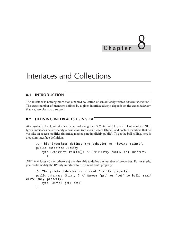"""Chapter                      8Interfaces and Collections8.1 INTRODUCTION""""An interface is nothing more than a named collect..."""