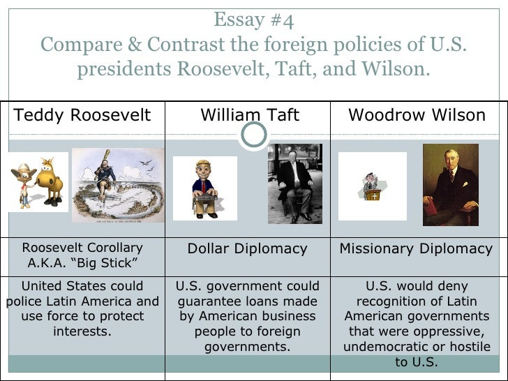apush essay foreign policy theodore roosevelt Regard to two of the following: labor, trusts, conservation, world affairs 2)  compare and contrast the foreign policies of theodore roosevelt and woodrow .