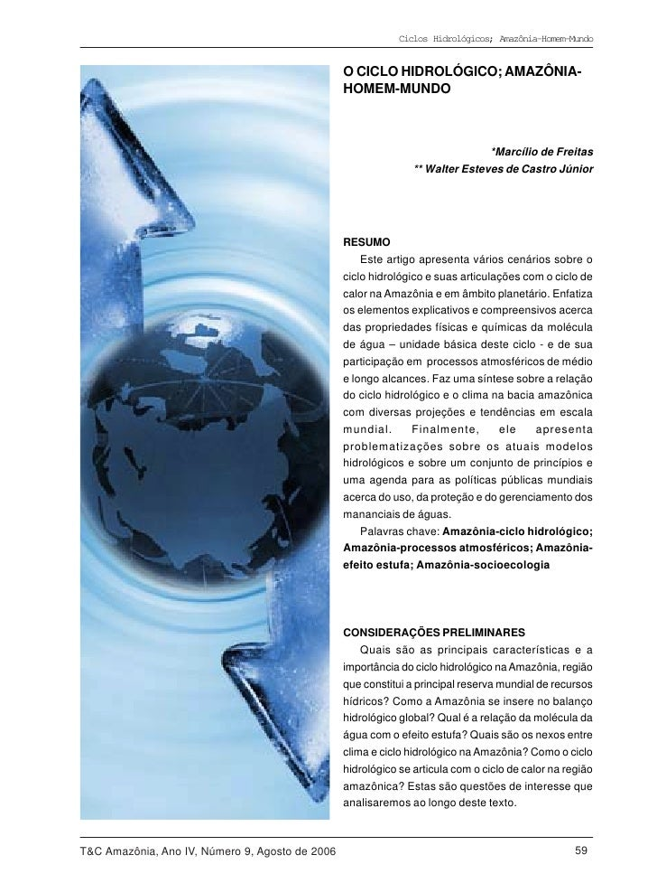Ciclos Hidrológicos; Amazônia-Homem-Mundo                                                 O CICLO HIDROLÓGICO; AMAZÔNIA-  ...