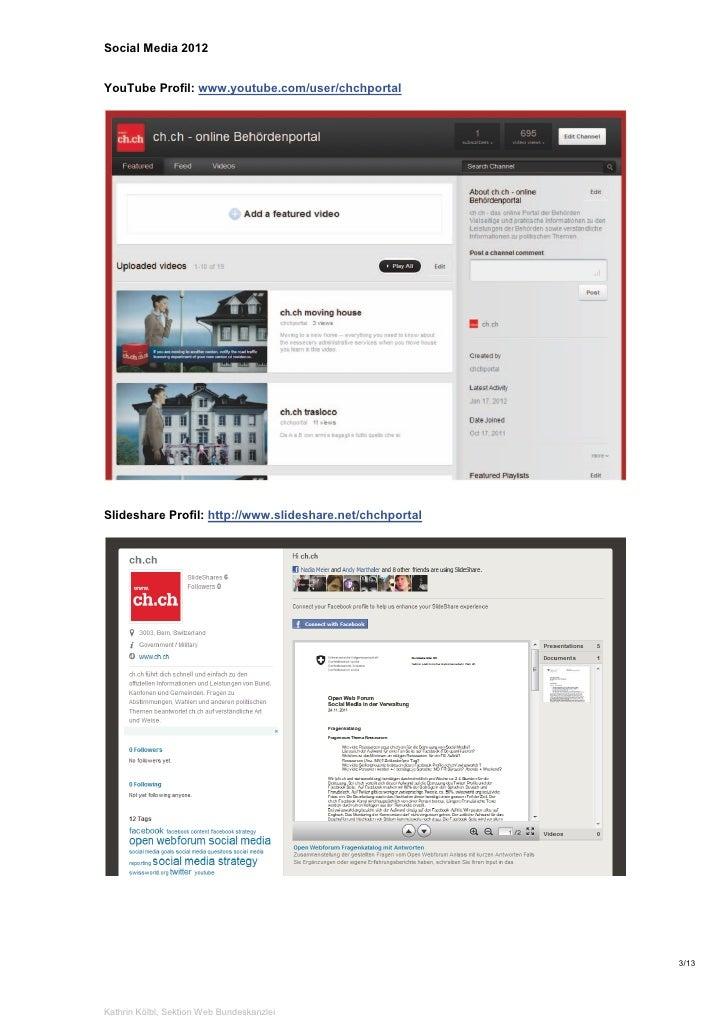 Social Media 2012YouTube Profil: www.youtube.com/user/chchportalSlideshare Profil: http://www.slideshare.net/chchportal   ...