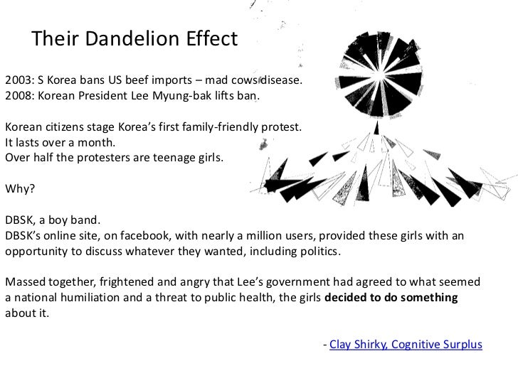 Their Dandelion Effect<br />2003: S Korea bans US beef imports – mad cows disease.<br />2008: Korean President Lee Myung-b...