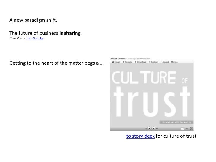 A new paradigm shift.<br />The future of business is sharing.<br /> The Mesh, Lisa Gansky<br />Getting to the heart of the...