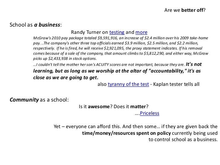 Are we better off?<br />School as a business:<br />Community as a school:<br />Is it awesome? Does it matter?  <br />     ...