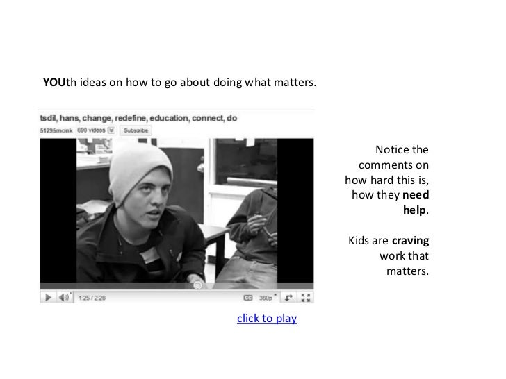 YOUth ideas on how to go about doing what matters.<br />Notice the comments on how hard this is, how they need help.<br />...