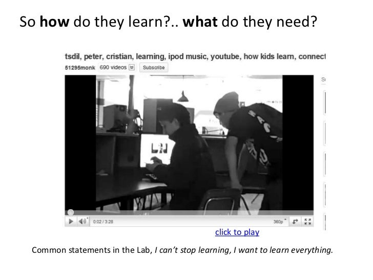 So how do they learn?.. what do they need?<br />click to play<br />Common statements in the Lab, I can't stop learning, I ...