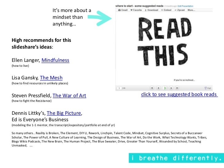 It's more about a mindset than anything…<br />High recommends for this <br />slideshare's ideas:<br />Ellen Langer, Mindfu...