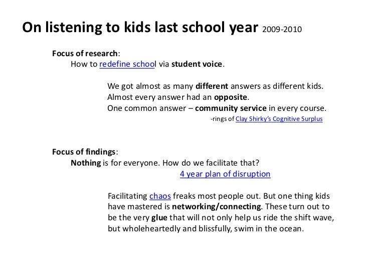 On listening to kids last school year 2009-2010<br />Focus of research: <br />How to redefine school via student voice.<br...
