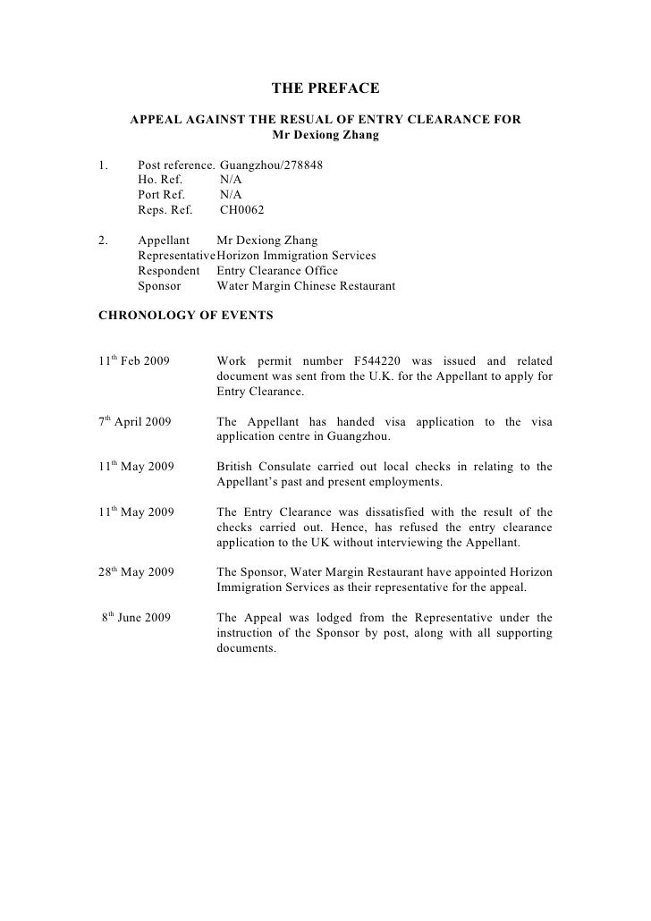 THE PREFACE        APPEAL AGAINST THE RESUAL OF ENTRY CLEARANCE FOR                        Mr Dexiong Zhang  1.     Post r...