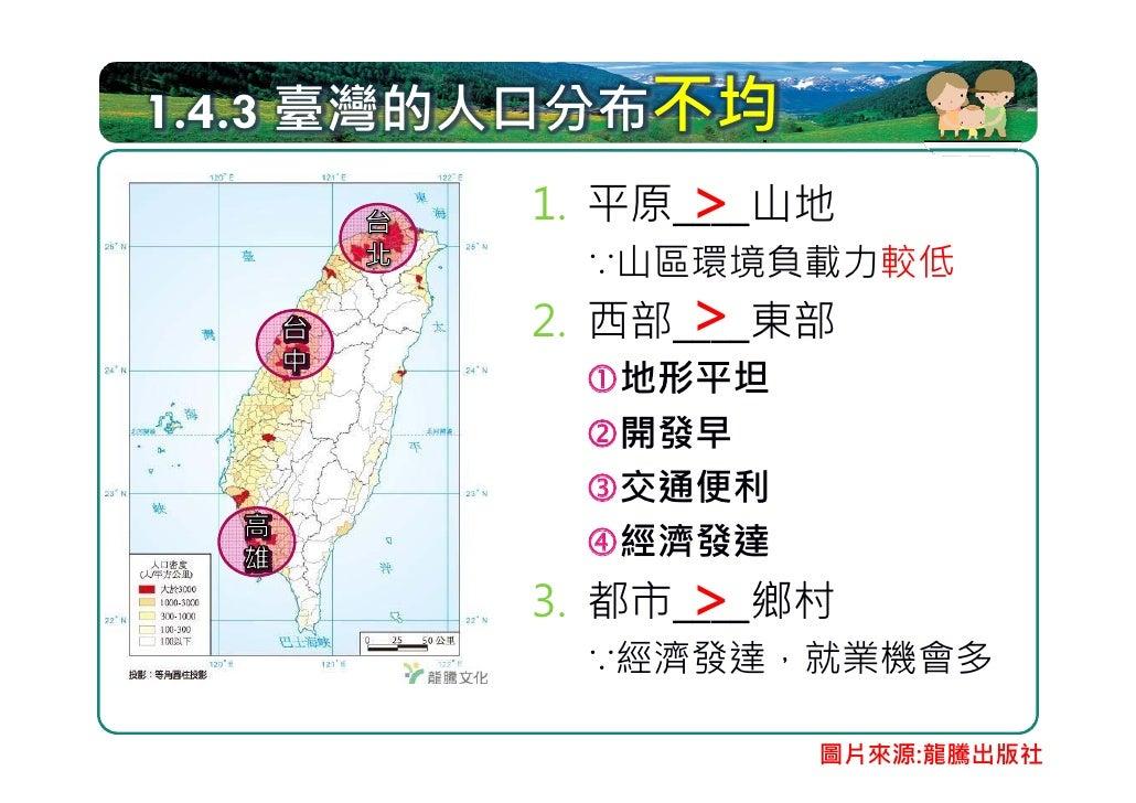 人口密集的都會區 臺北            臺            中          高雄                    圖片來源:龍騰出版社